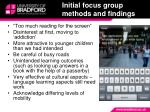 initial focus group methods and findings