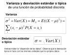 varianza y desviaci n est ndar o t pica de una funci n de probabilidad discreta
