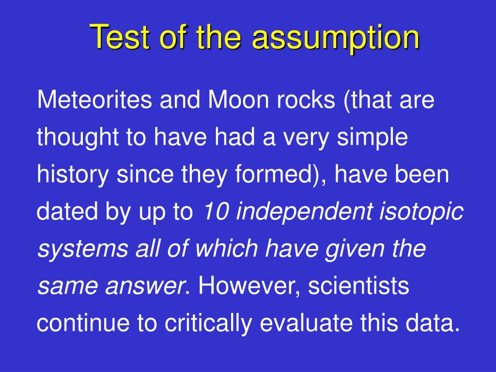 Test of the assumption