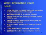 what information you ll need