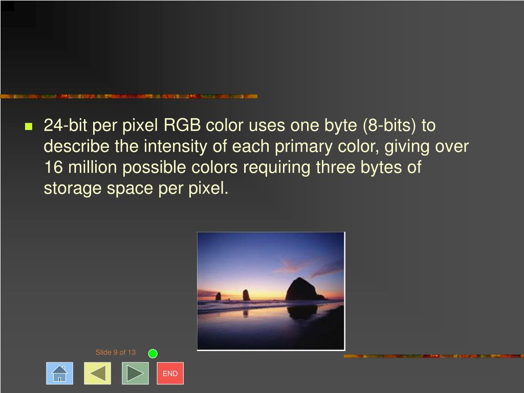 24-bit per pixel RGB color uses one byte (8-bits) to describe the intensity of each primary color, giving over 16 million possible colors requiring three bytes of storage space per pixel.