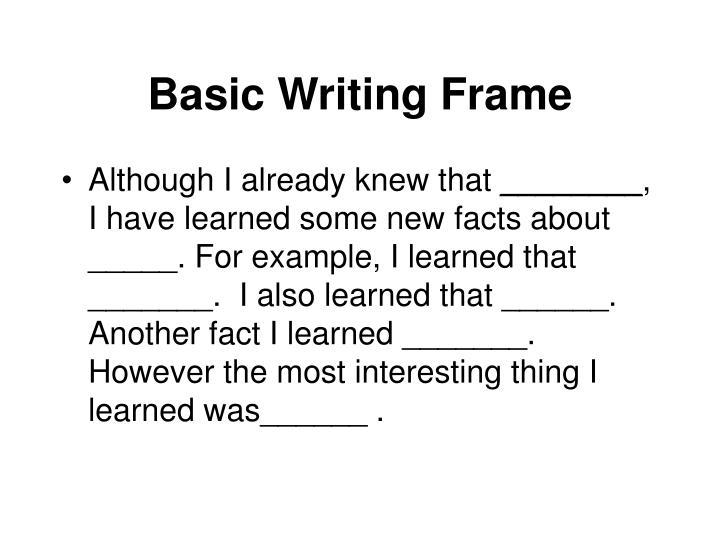 Basic Writing Frame
