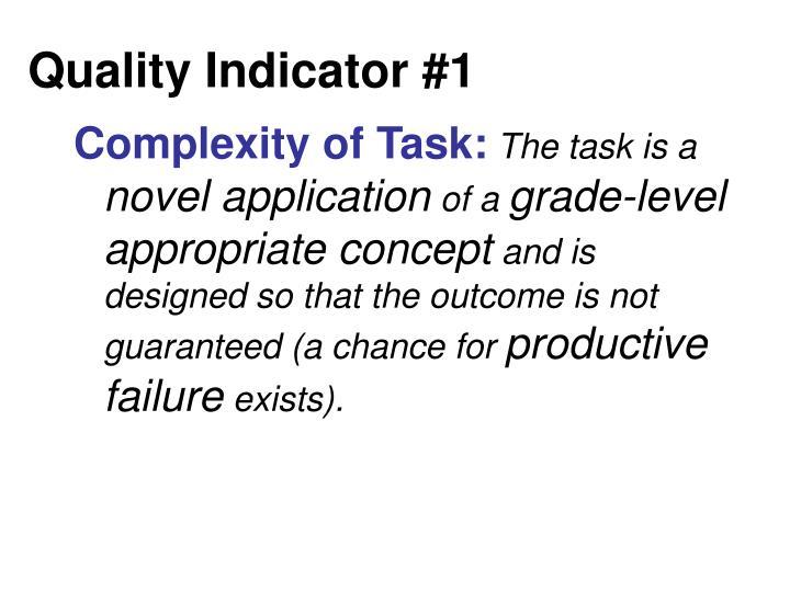 Quality Indicator #1
