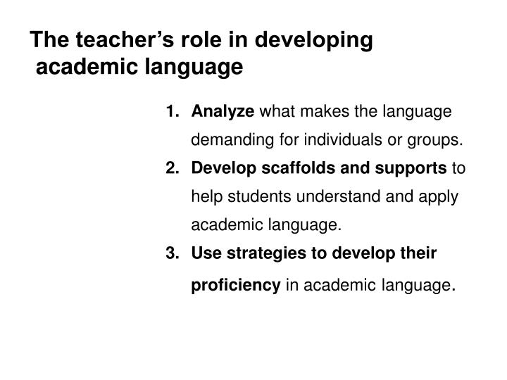 The teacher's role in developing