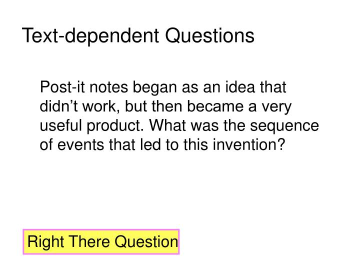Text-dependent Questions