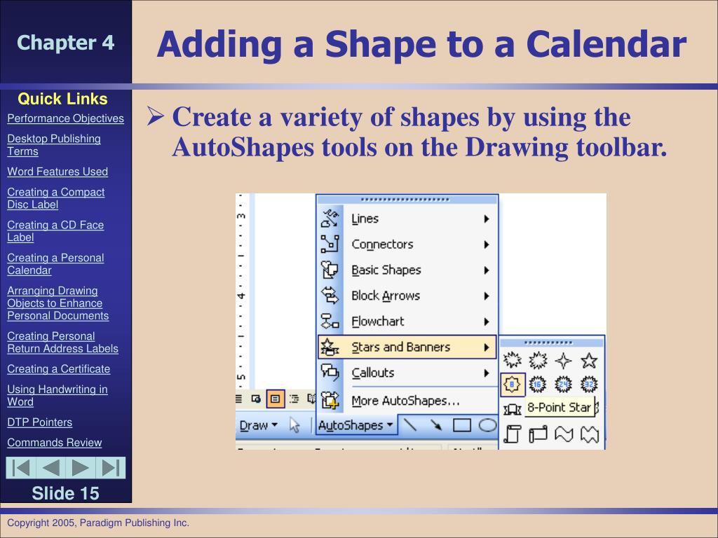Adding a Shape to a Calendar