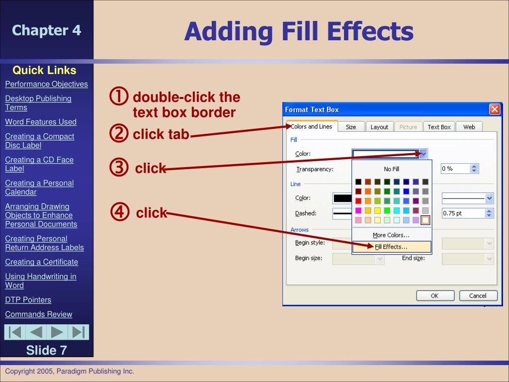 Adding Fill Effects