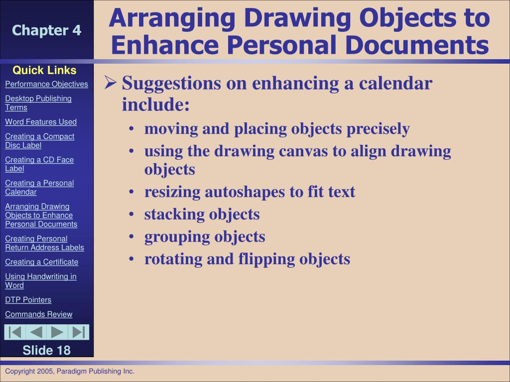 Arranging Drawing Objects to Enhance Personal Documents