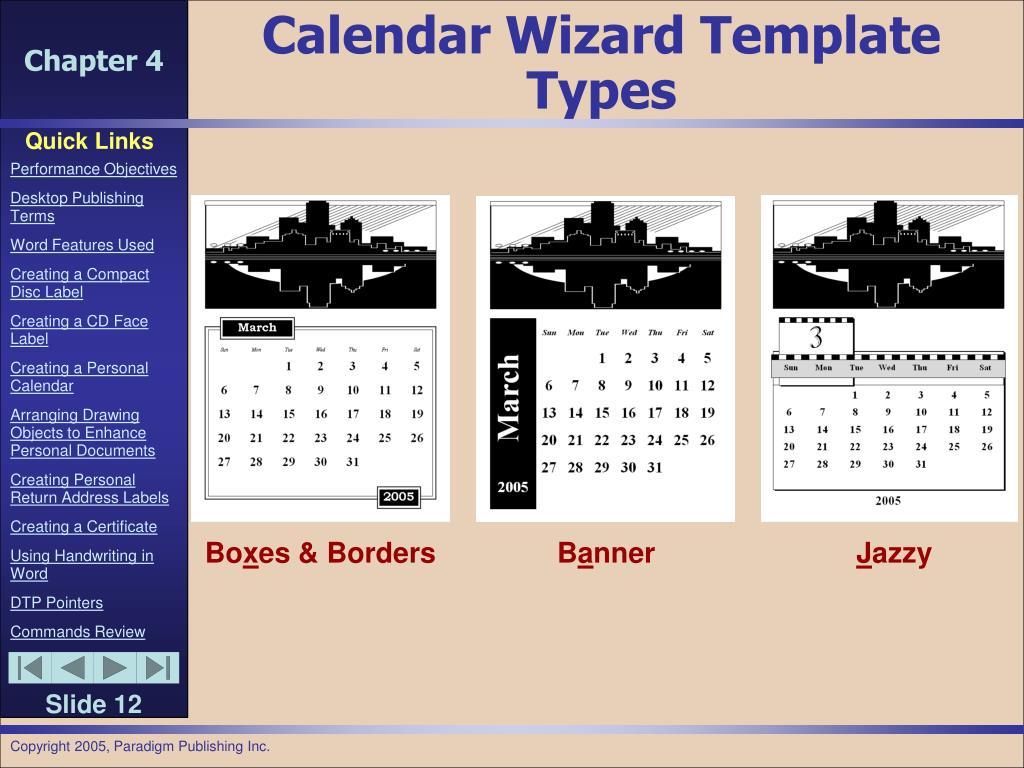 Calendar Wizard Template Types