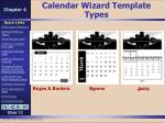 calendar wizard template types