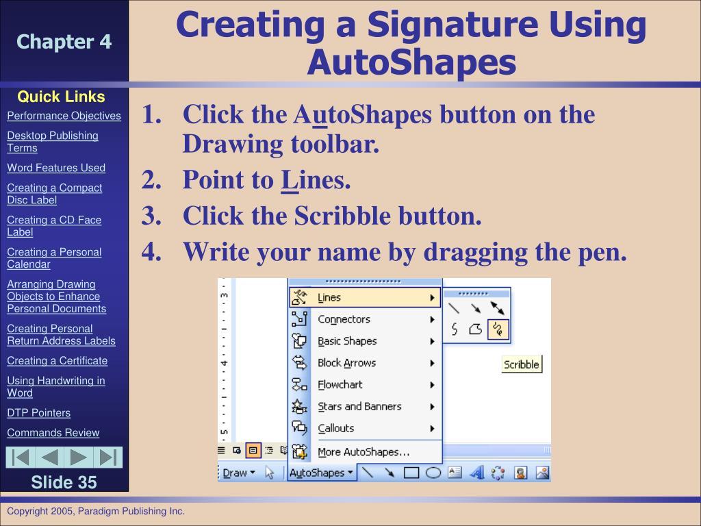 Creating a Signature Using AutoShapes