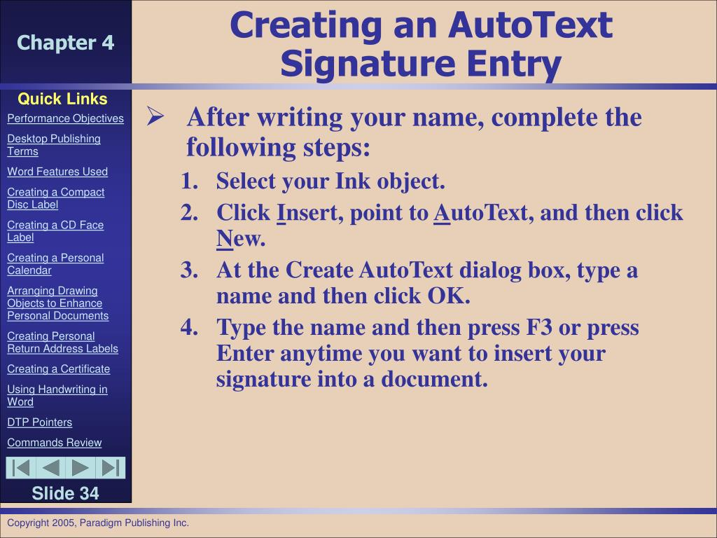 Creating an AutoText Signature Entry