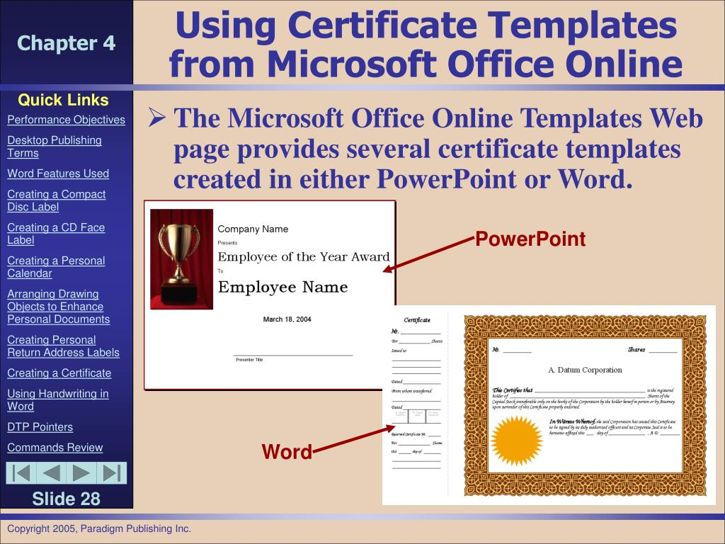 Using Certificate Templates from Microsoft Office Online