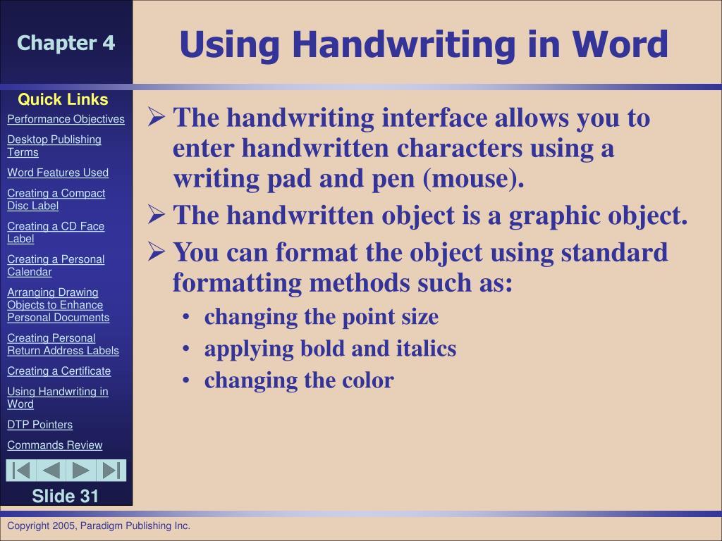 Using Handwriting in Word