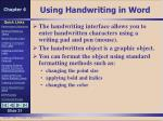 using handwriting in word