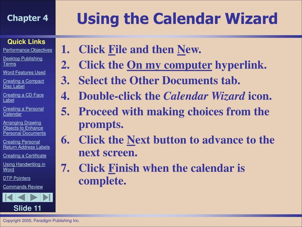 Using the Calendar Wizard
