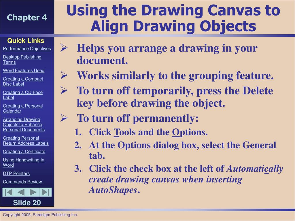 Using the Drawing Canvas to Align Drawing Objects