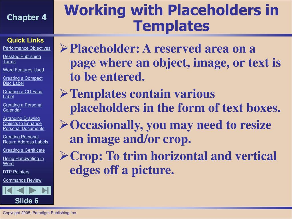 Working with Placeholders in Templates
