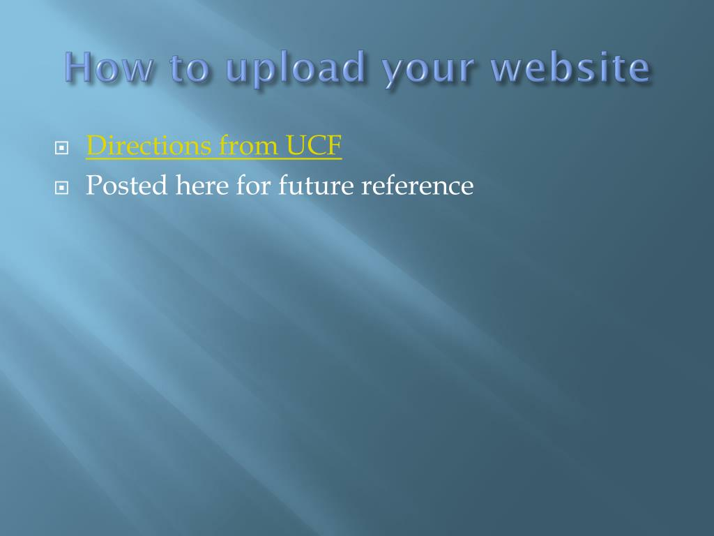 How to upload your website