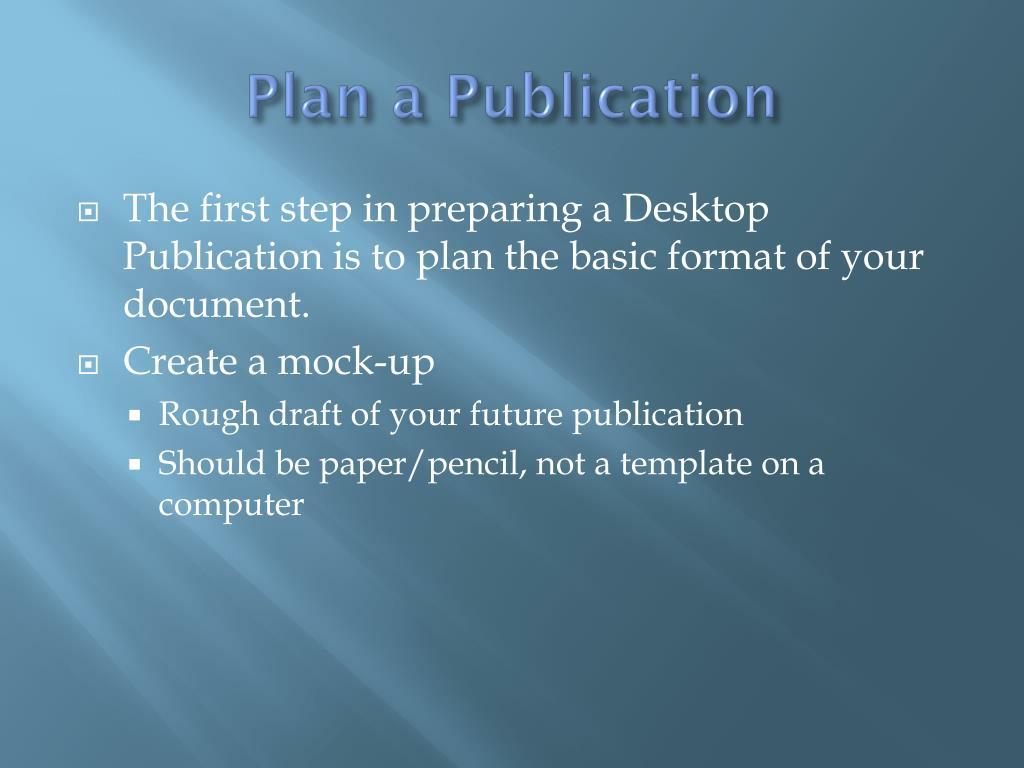 Plan a Publication