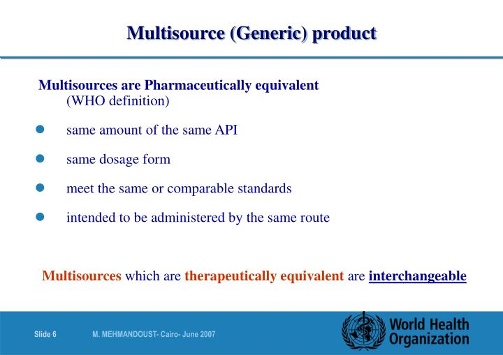 Multisource (Generic) product