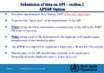 submission of data on api section 2 apimf option