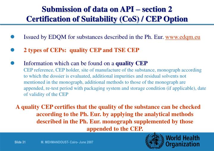 Submission of data on API – section 2