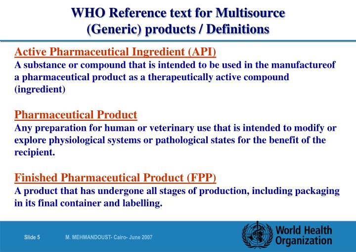 WHO Reference text for Multisource