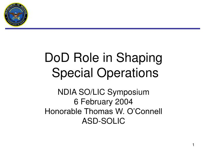 dod role in shaping special operations n.