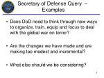 secretary of defense query examples