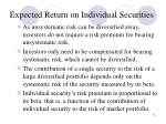 expected return on individual securities