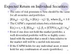 expected return on individual securities1