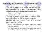 resulting equilibrium conditions cont