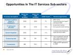 opportunities in the it services sub sectors