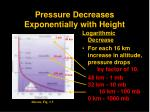pressure decreases exponentially with height