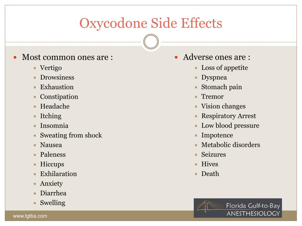 Oxycodone Side Effects