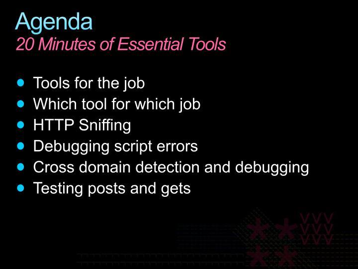 Agenda 20 minutes of essential tools