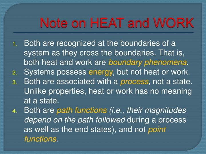 Note on HEAT and WORK