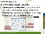 formatting text in newspaper style columns