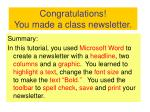 congratulations you made a class newsletter