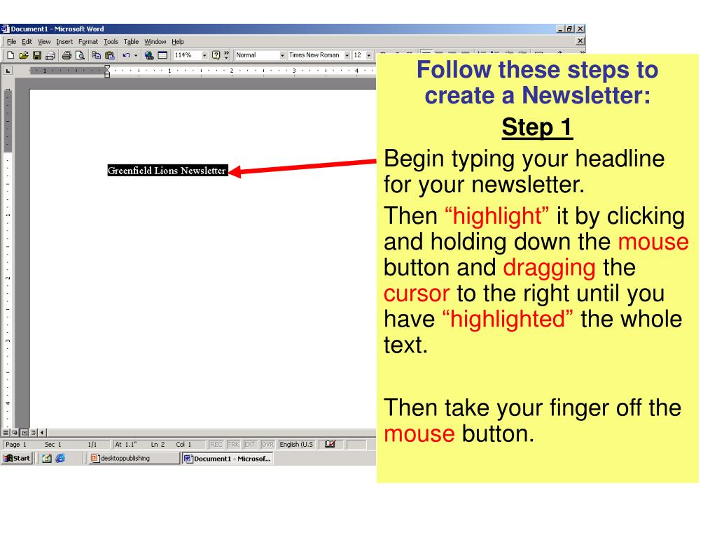 Follow these steps to create a Newsletter:
