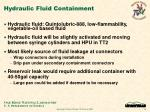 hydraulic fluid containment
