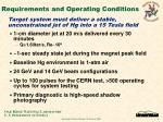 requirements and operating conditions