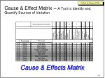 cause effect matrix a tool to identify and quantify sources of variation
