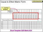 cause effect matrix form