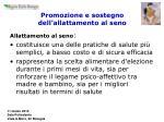 promozione e sostegno dell allattamento al seno