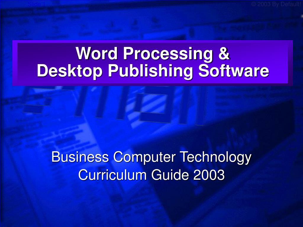 word processing desktop publishing software l.