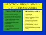 funzioni biochimiche degli eicosanoidi