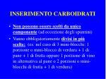 inserimento carboidrati
