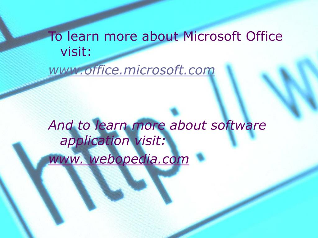 To learn more about Microsoft Office visit: